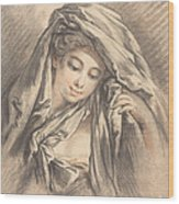 Young Woman With Her Head Covered Wood Print
