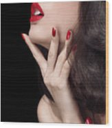 Young Woman With Red Lipstick Sensual Closeup Of Mouth Wood Print