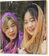 Young Women Silk Scarves 01 Wood Print