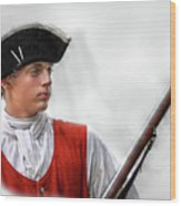 Youthful Soldier With Musket Wood Print by Randy Steele