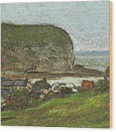 Yport And The Falaise D'aval Wood Print