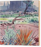 Yucca And Buttes Wood Print