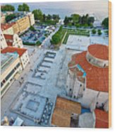 Zadar Forum Square Ancient Architecture Aerial View Wood Print