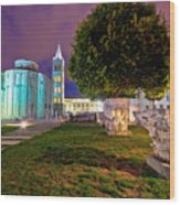 Zadar Historic Square Evening View Wood Print