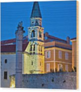 Zadar Landmarks Evening Vertical View Wood Print