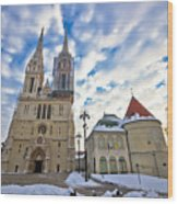 Zagreb Cathedral Winter Daytime View Wood Print
