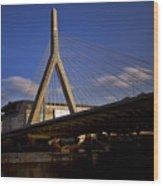Zakim Bridge And Boston Garden At Sunset Wood Print