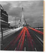 Zakim Bridge And Td Garden Boston Ma Red Tail Lights Wood Print