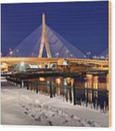 Zakim Bridge In Winter Wood Print