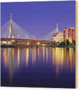 Zakim Twilight Wood Print by Rick Berk