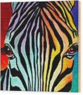Zebra - End Of The Rainbow Wood Print by Alicia VanNoy Call