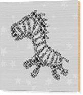 Zebra Black Star Wood Print
