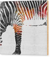 Zebra Black White And Red Orange By Sharon Cummings  Wood Print