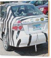 Zebra Car Rear Wood Print