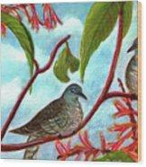 Zebra Doves Or Barred Dove Birds #309 Wood Print