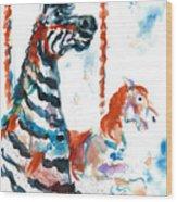 Zebra Gets A Ride The Ocean City Boardwalk Carousel Wood Print