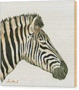 Zebra Head Study Painting Wood Print