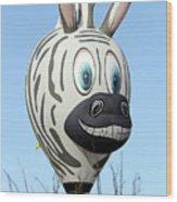 Zebra Hot Air Balloon At Balloon Fiesta Wood Print