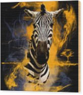 Zebra In Africa Wood Print