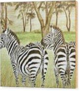 Zebra Pals Wood Print