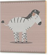 Zebra Posing Wood Print