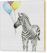 Baby Zebra Watercolor Animal With Balloons Wood Print