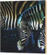 Zebras Glow Wood Print