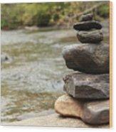 Zen At The Water Wood Print