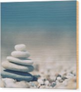 Zen Balanced Pebbles At Beach Wood Print by Alexandre Fundone