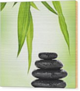 Zen Basalt Stones And Bamboo Wood Print by Pics For Merch