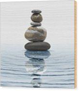Zen Stones In Water Wood Print