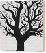 Zen Sumi Tree Of Life Enhanced Black Ink On Canvas By Ricardos Wood Print