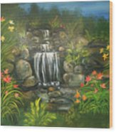 Zen Waterfall Wood Print
