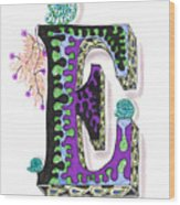 Zentangle Inspired E #4 Wood Print
