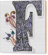 Zentangle Inspired F #2 Wood Print