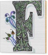 Zentangle Inspired F #3 Wood Print
