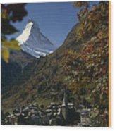 Zermatt Village With The Matterhorn Wood Print