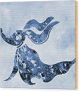 Zero-blue Wood Print