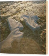 Zinc Sculptures On The Beach At Sunset Wood Print