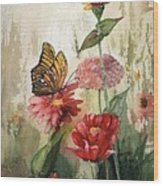 Zinnias And Monarch Wood Print