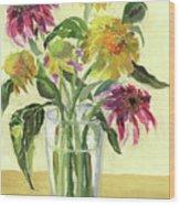 Zinnias In Vase Wood Print