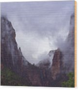 Zion Fog Wood Print