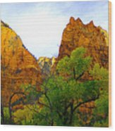 Zion In Autumn Wood Print