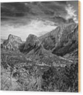 Zion In Black And White Wood Print
