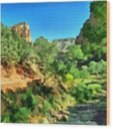 Zion In The Morning Wood Print