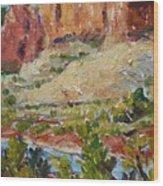 Zion Mountain Cliff Wood Print