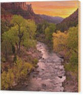 Zion National Park The Watchman Wood Print