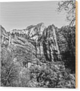 Zion National Park Utah Black White  Wood Print