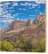 Zion Panoramic Coudy Sky Wood Print