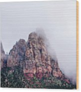 Zion Red Rock And Clouds Wood Print